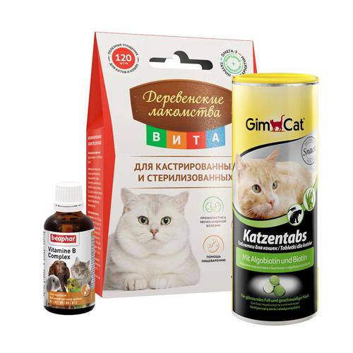 Витамины и добавки для кошек, средства по уходу