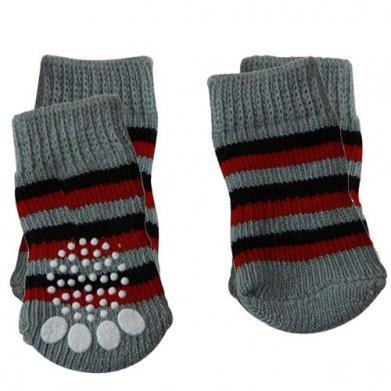 Фото Triol носки 005 серые в полоску с нескользящим основанием