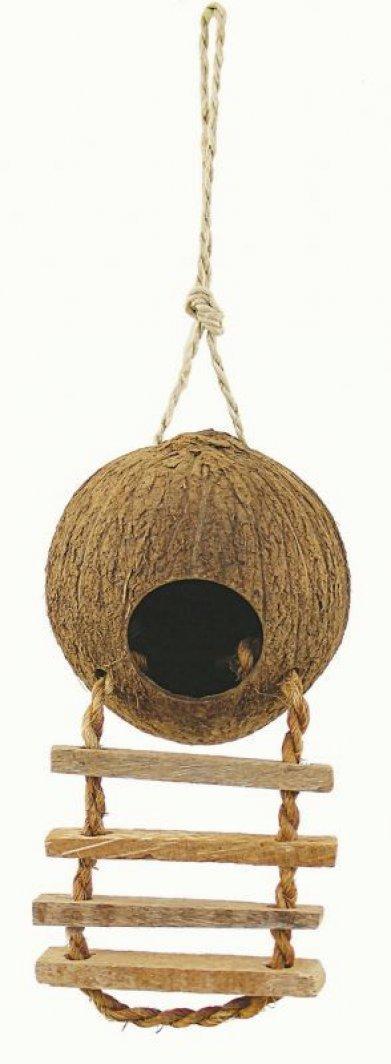 Фото Домик для птиц из натурального кокоса с лесенкой с деревянными ступеньками, 10*4,5 см