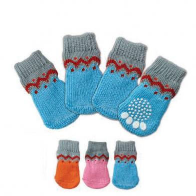 Фото Triol носки 006 двухцветные с красным узором с нескользящим основанием