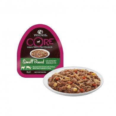 Фото Wellness Core Small Breed консервы для собак мелких пород, аппетитное попурри из баранины и оленины, тушеных с белым сладким картофелем и морковью, 85 г