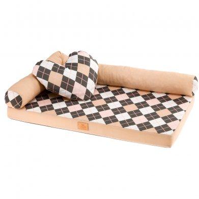 Фото Лежак-кровать Ferplast Tommy Rombus 65 розовый ромб 65*40*16 см
