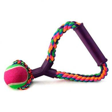 Фото Верёвка цветная 0105XJ с мячом с резиновой ручкой, 25 см