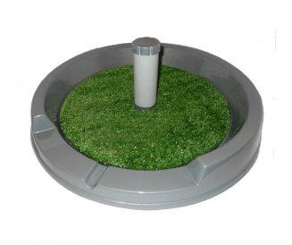 Фото Туалет со столбиком круглый для собак мелких пород Данко, искусственная трава