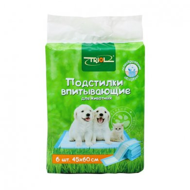 Фото Подстилки Triol 6 шт 40*50 см впитывающие для туалета  DP-06
