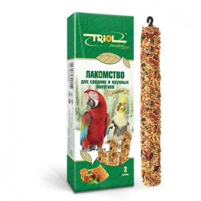 Фото Палочки для средних и крупных попугаев Triol Standard с медом, 3 шт