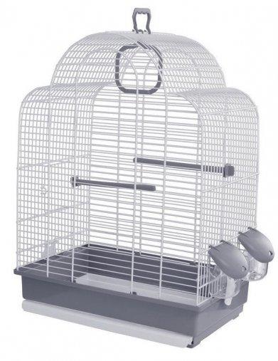 Фото Клетка Voltrega для птиц (648), бело-серая 39*25,5*54 см
