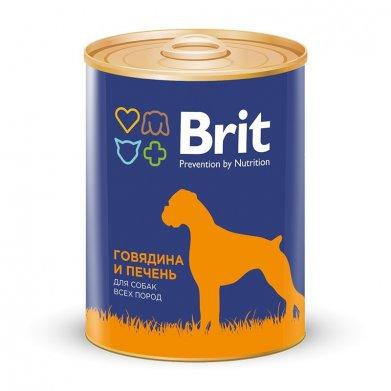 Фото Консервы Brit Red Meat & Liver говядина и печень для собак 850 г