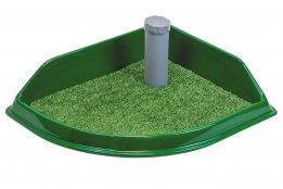 Фото Туалет Дарэлл угловой со столбиком Рокки для собак мелких пород с искусственной травой 50*43 см