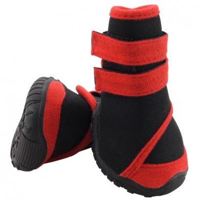 Фото Ботинки Triol чёрные с красным на липучке YXS134