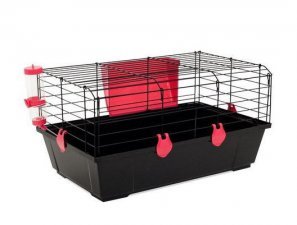 Фото Клетка Voltrega для кроликов и морских свинок (523), черная 58*36*31 см