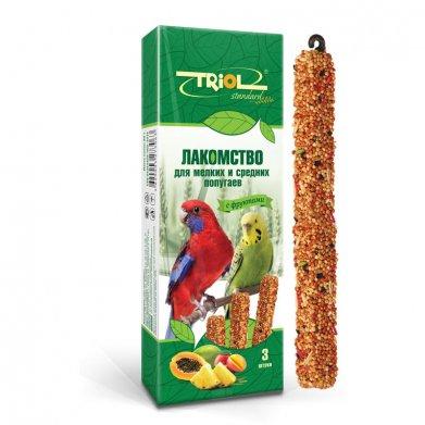Фото Палочки для мелких и средних попугаев Triol Standard с фруктами, 3 шт