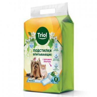 Фото Подстилки впитывающие с ароматом жасмина, 40*50 см (уп. 6 шт) Triol