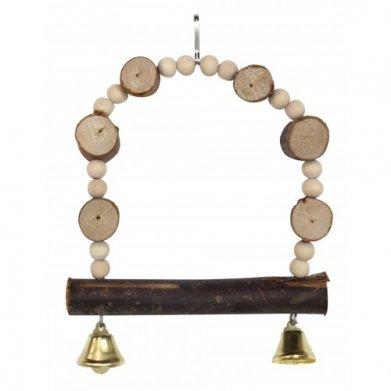 Фото Качелька Golden cage с колокольчиками, деревянные пеньки NV8014, 15*23 см