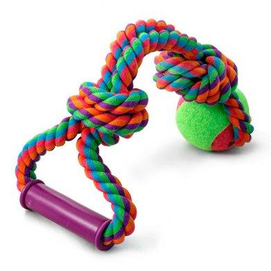 Фото Верёвка цветная 0113XJ с мячом с узлами с резиновой ручкой, 49 см