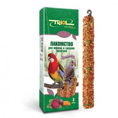 Фото Палочки для мелких и средних попугаев Triol Standard с овощами, 3 шт