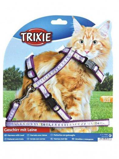 Фото Шлейка Trixie для кошек крупных с поводком 34-57*13 см