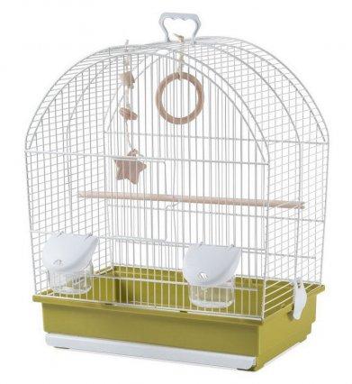 Фото Клетка Voltrega для птиц (642), бело-зеленая 41*25,5*48 см