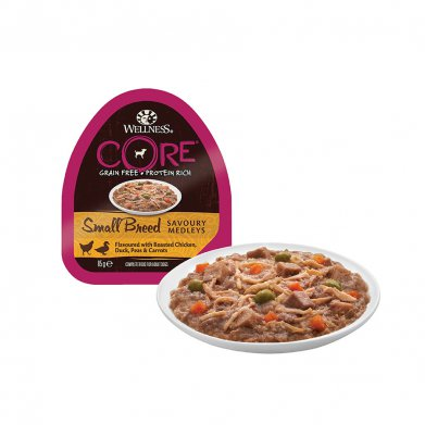Фото Wellness Core Small Breed консервы для собак мелких пород аппетитное попурри из курочки и утки, запеченных с горошком и морковью, 85 г