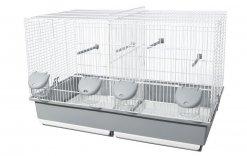 Фото Клетка Voltrega для двух птиц (350) бело-серая 70*40*44 см