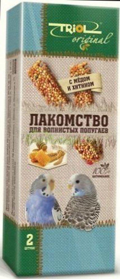Фото Лакомство для волнистых попугаев палочки с мёдом и хитином Triol Original, 2 шт