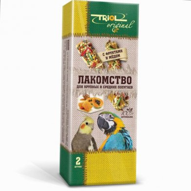 Фото Лакомство для крупных и средних попугаев Triol Original палочки с фруктами и мёдом 2 шт.