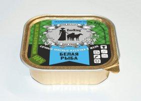 Фото Консервированный корм для собак ZooRing кусочки в желе 100 гр, белая рыба