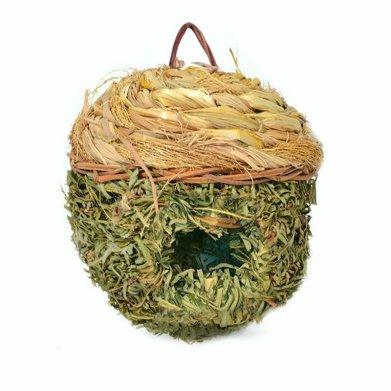 Фото Домик плетеный PT6047 Желудь с круглой крышей для птиц и грызунов, диаметр 15 см