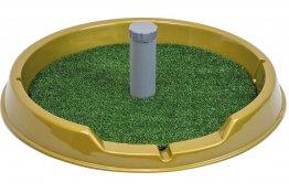 Фото Туалет Дарэлл круглый со столбиком Рокки для собак мелких пород с искусственной травой 60 см