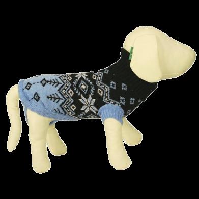 Фото Triol свитер для животных, черный с голубым орнаментом 7551А