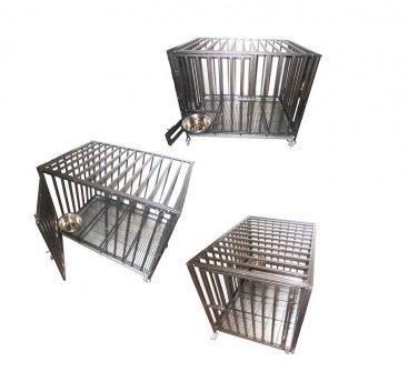 Фото Клетка для собак Кл-С-8 металлическая на колесах Данко, разборная на винтах, миска в комплекте