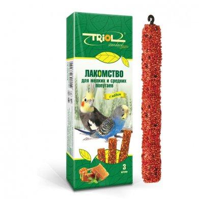 Фото Палочки для мелких и средних попугаев Triol Standard с медом, 3 шт