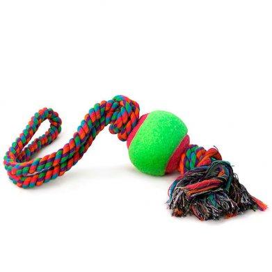 Фото Верёвка цветная 0141XJ с мячом с двумя узлами, 45 см